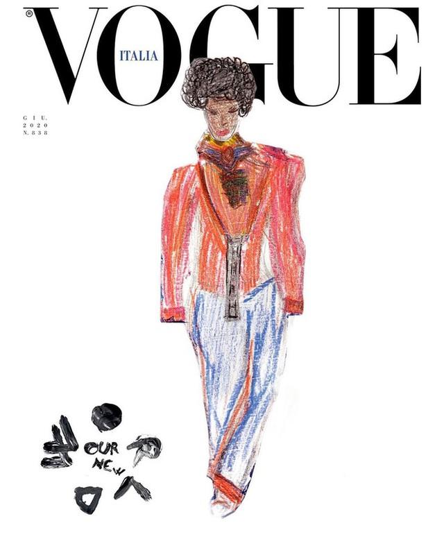Nối gót Gucci, Vogue Ý cũng post ảnh bìa được vẽ nguệch ngoạc nhưng ý nghĩa đằng sau lại thật ấm lòng - Ảnh 5.