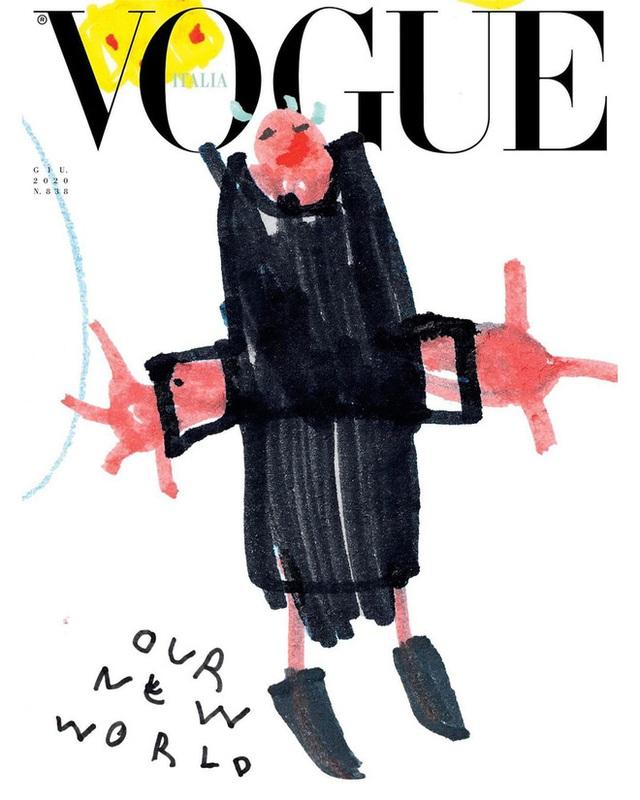 Nối gót Gucci, Vogue Ý cũng post ảnh bìa được vẽ nguệch ngoạc nhưng ý nghĩa đằng sau lại thật ấm lòng - Ảnh 6.