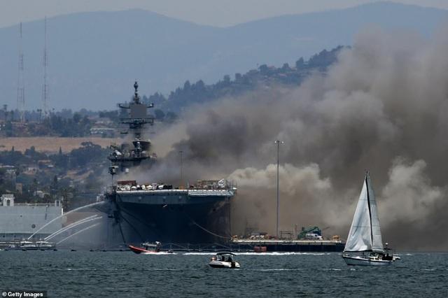 Mỹ cháy tàu đổ bộ tấn công, 3,8 triệu lít nhiên liệu đứng trước nguy cơ tràn ra biển - Ảnh 5.
