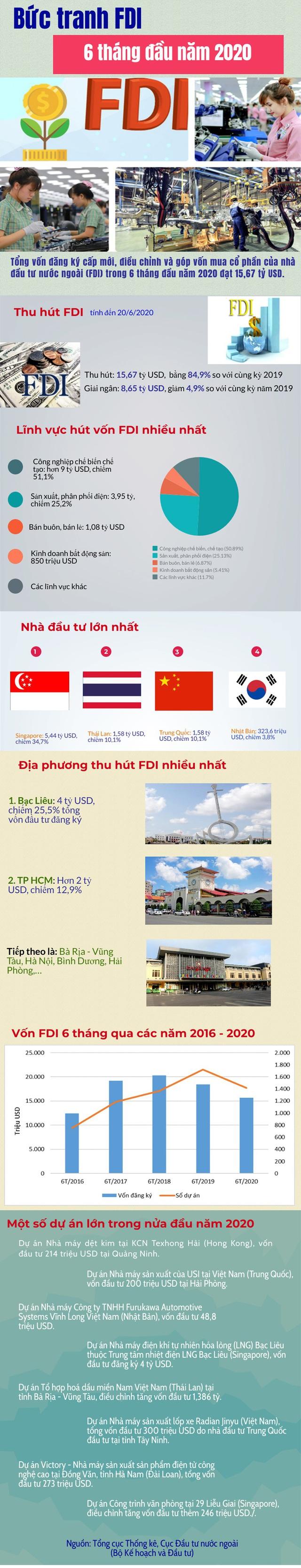Những nét nổi bật trong bức tranh FDI 6 tháng đầu năm 2020 - Ảnh 1.