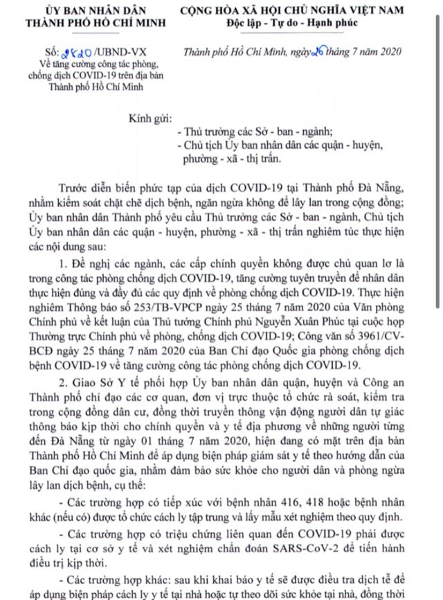 Người từ Đà Nẵng tới TPHCM từ 1/7 phải xét nghiệm COVID-19 - Ảnh 1.