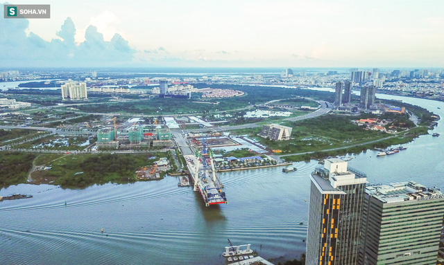 Cầu Thủ Thiêm 2 vươn mình ra sông Sài Gòn, lộ hình dáng khi nhìn từ trên cao - Ảnh 15.