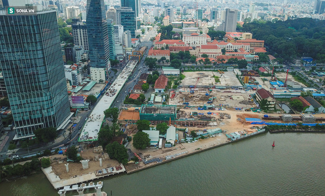 Cầu Thủ Thiêm 2 vươn mình ra sông Sài Gòn, lộ hình dáng khi nhìn từ trên cao - Ảnh 7.