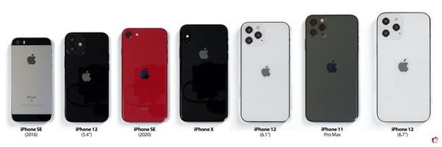So sánh kích thước iPhone 12 với iPhone đời cũ: iPhone 12 5.4 inch còn nhỏ hơn cả iPhone SE 4.7 inch - Ảnh 1.