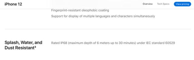 Có thể ngâm nước ở độ sâu tới 6m nhưng iPhone 12 vẫn chỉ đạt chuẩn IP68 (chứ không phải IP68+) - Ảnh 1.
