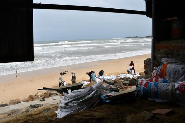 Người dân Quảng Ngãi hối hả ra biển lấy cát chống bão số 9 - Ảnh 11.