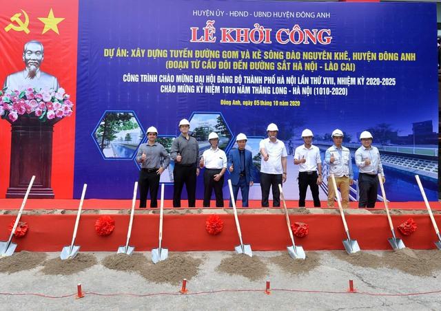 Hà Nội khởi công tuyến đường gom và kè sông đào Nguyên Khê cùng hai công trình hạ tầng tại Đông Anh - Ảnh 2.