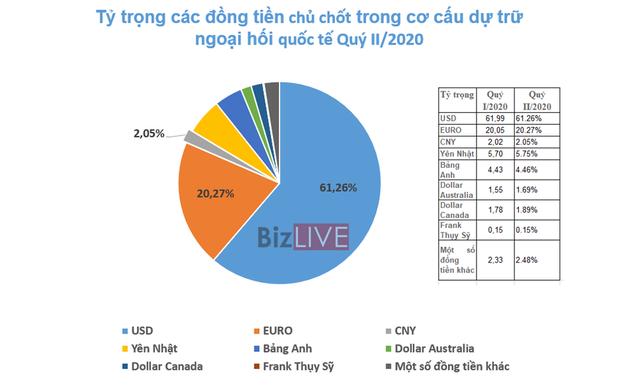 [Chart] Nhân dân tệ rướn lên, USD lùi nhẹ trong dự trữ ngoại hối toàn cầu - Ảnh 3.