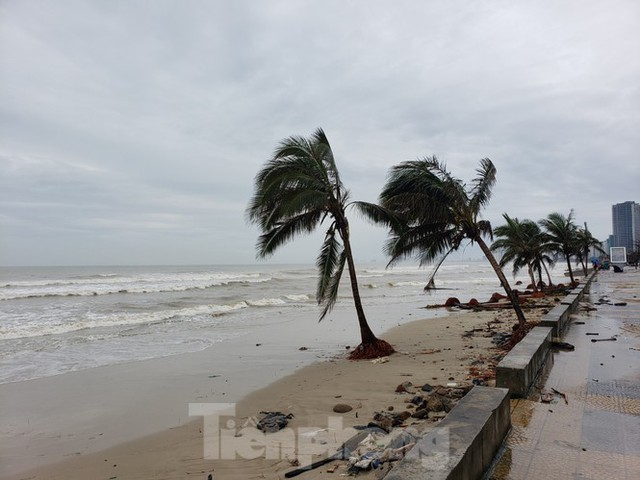 Bờ biển Đà Nẵng ngổn ngang, kè sông sụt lún vì bão số 13 - Ảnh 12.