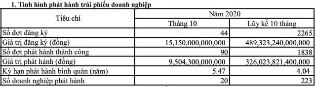 Trái phiếu hãm phanh sau Nghị định mới: Tổng giá trị phát hành tháng 10 tiếp tục giảm về 9.504 tỷ đồng - Ảnh 1.