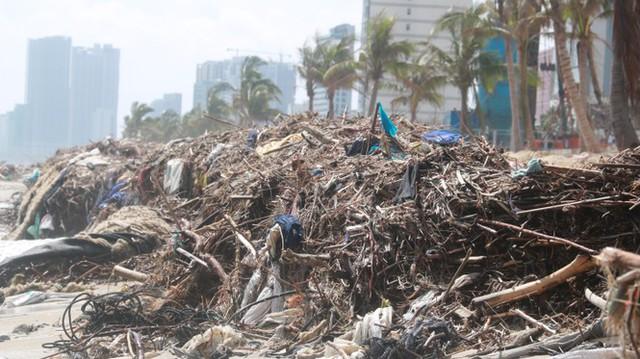 Kinh hãi với những núi rác khổng lồ trên bãi biển Đà Nẵng sau bão - Ảnh 4.