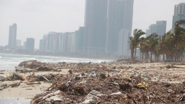 Kinh hãi với những núi rác khổng lồ trên bãi biển Đà Nẵng sau bão - Ảnh 5.