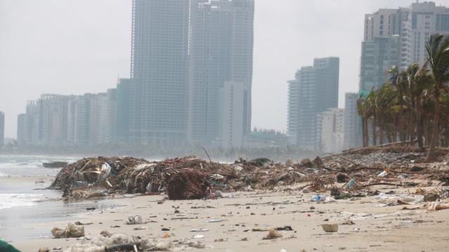 Kinh hãi với những núi rác khổng lồ trên bãi biển Đà Nẵng sau bão - Ảnh 9.