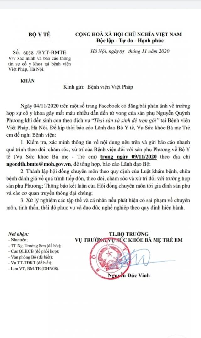 Bộ Y tế yêu cầu Bệnh viện Việt Pháp khẩn trương báo cáo sự cố sản phụ tử vong  - Ảnh 1.