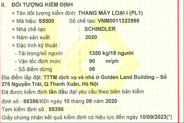 Sự cố tại Chung cư Golden Land, thang máy có được lắp đặt đúng quy định? - Ảnh 2.