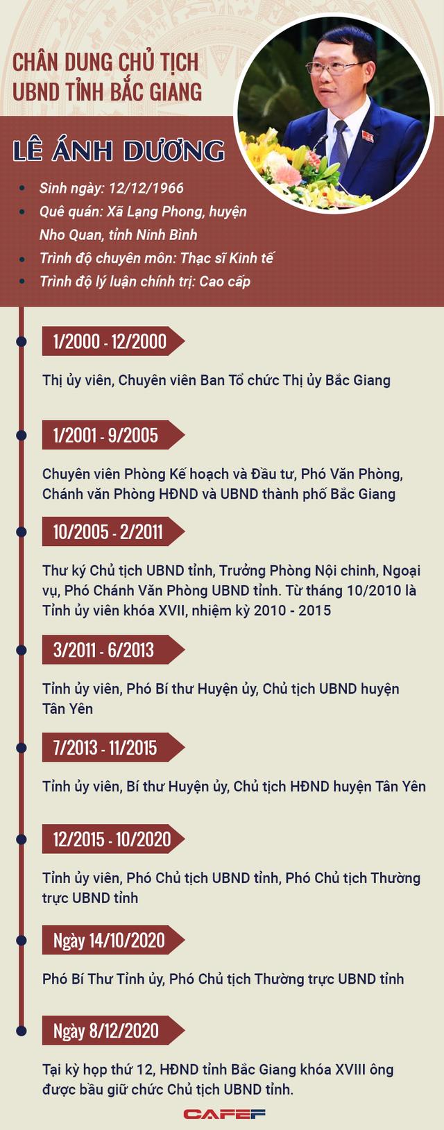 Infographics: Chân dung Chủ tịch UBND tỉnh Bắc Giang Lê Ánh Dương - Ảnh 1.