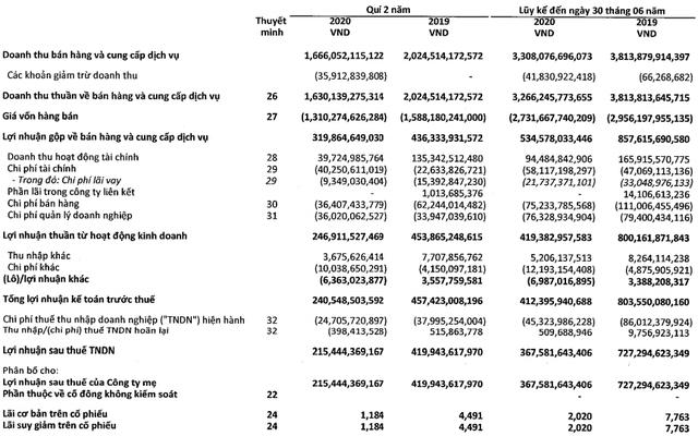 Vĩnh Hoàn (VHC): Nửa đầu năm LNST hợp nhất giảm hơn 49% xuống còn 367,5 tỷ, một phần do không còn phát sinh lãi thoái vốn - Ảnh 1.