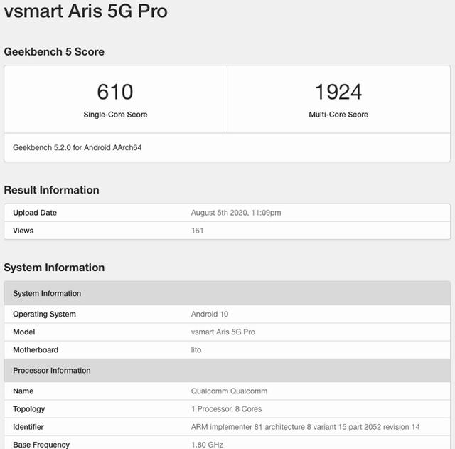 Vsmart Aris 5G Pro lộ diện với chip Snapdragon 765, RAM 8GB - Ảnh 2.