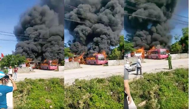 6 xe chở khách bốc cháy dữ dội trong bãi gửi xe tự phát ở Thanh Hóa - Ảnh 1.