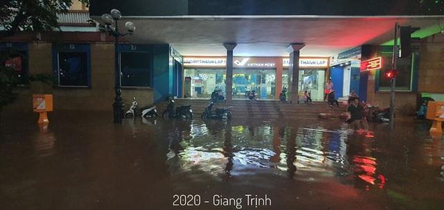Hà Nội: Mưa to như trút nước lúc tan tầm, nhiều tuyến phố trung tâm lại biến thành sông - Ảnh 9.