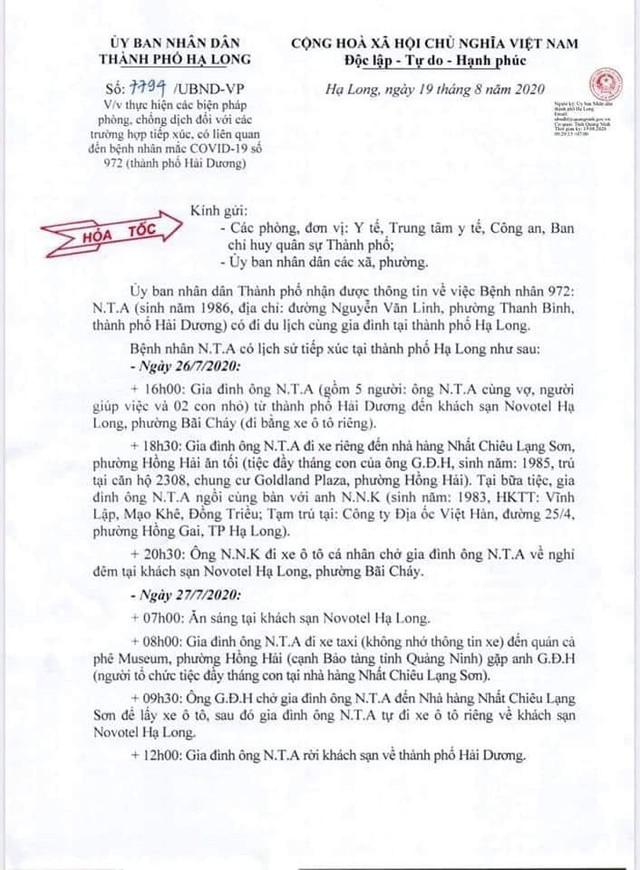 17 trường hợp F1 của BN972 đi du lịch Hạ Long có kết quả âm tính - Ảnh 1.