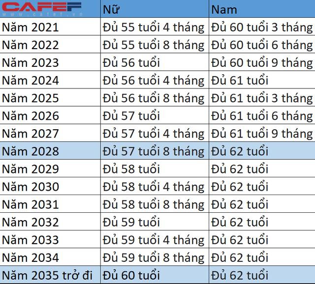 Chi tiết tuổi nghỉ hưu áp dụng từ ngày 1/1/2021 - Ảnh 1.