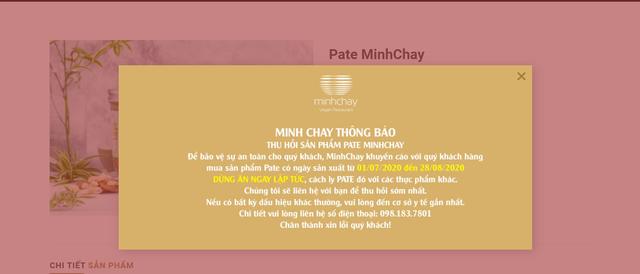 Minh Chay thông báo thu hồi sản phẩm pate có độc tố cực mạnh - Ảnh 1.