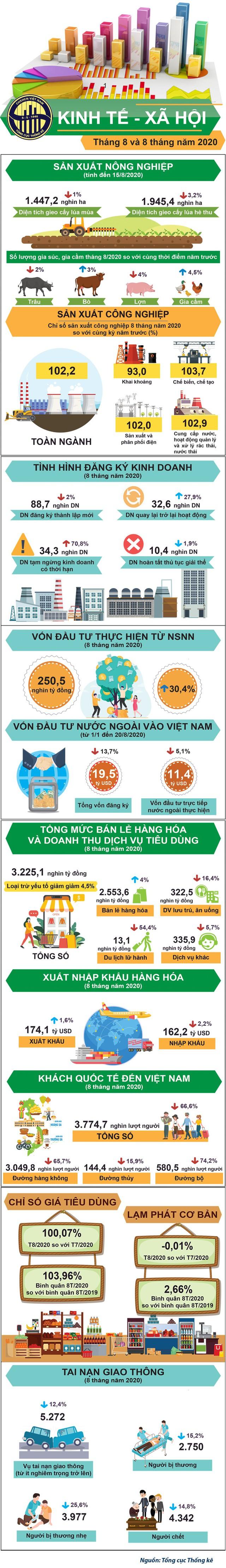 [Infographic] Toàn cảnh kinh tế - xã hội 8 tháng đầu năm 2020 qua những con số - Ảnh 1.