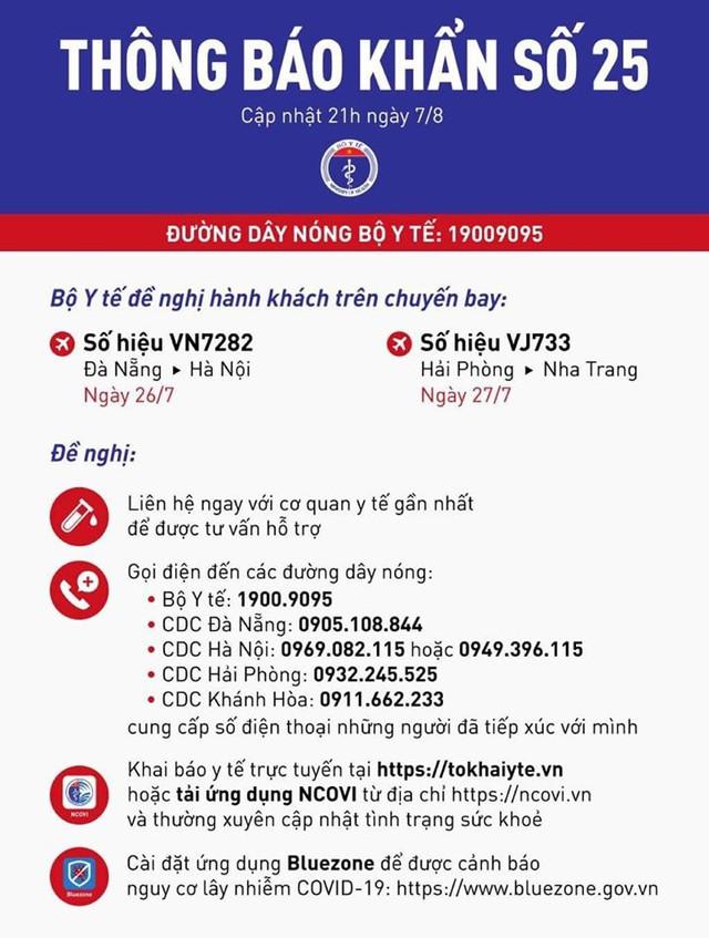 Khẩn: Tìm người đi trên 2 chuyến bay Hà Nội - Đà Nẵng và Hải Phòng - Nha Trang - Ảnh 1.