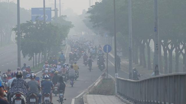 Sáng nay, sương mù bao phủ bầu trời TP HCM - Ảnh 4.