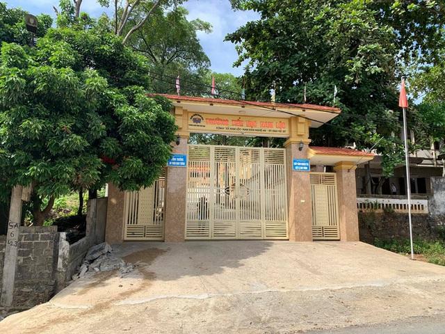 Bức tường ngoài cổng trường sập đè học sinh lớp 5 tử vong ở Nghệ An - Ảnh 1.