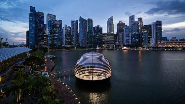Tham quan Apple Store hình cầu nổi trên mặt nước vừa mới được khai trương tại Singapore - Ảnh 1.