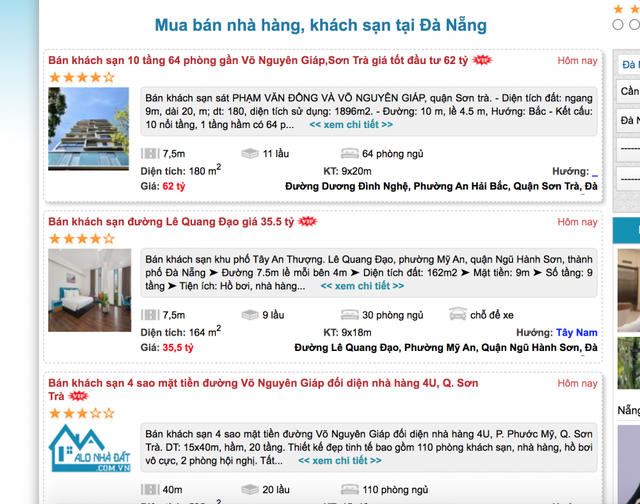 Hàng loạt khách sạn, biệt thự ở Đà Nẵng rao bán vì thua lỗ - Ảnh 1.