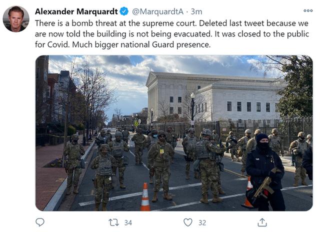 [NÓNG] Xuất hiện mối đe dọa đánh bom ở Tòa án Tối cao Mỹ ngay trước lễ nhậm chức của ông Biden - Ảnh 1.