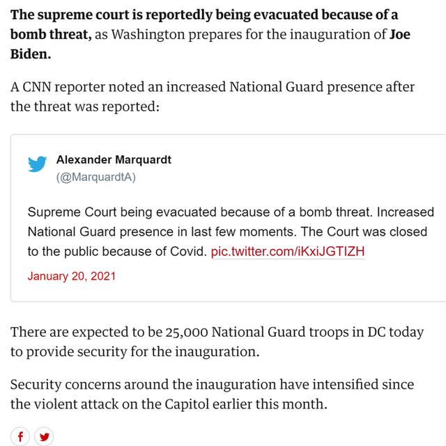 [NÓNG] Xuất hiện mối đe dọa đánh bom ở Tòa án Tối cao Mỹ ngay trước lễ nhậm chức của ông Biden - Ảnh 2.