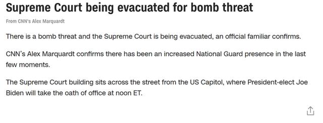 [NÓNG] Xuất hiện mối đe dọa đánh bom ở Tòa án Tối cao Mỹ ngay trước lễ nhậm chức của ông Biden - Ảnh 3.
