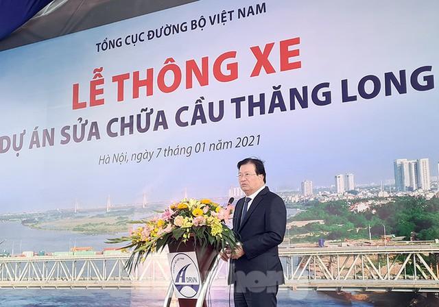 Chính thức thông xe cầu Thăng Long sau 6 tháng dừng hoạt động để sửa chữa - Ảnh 1.