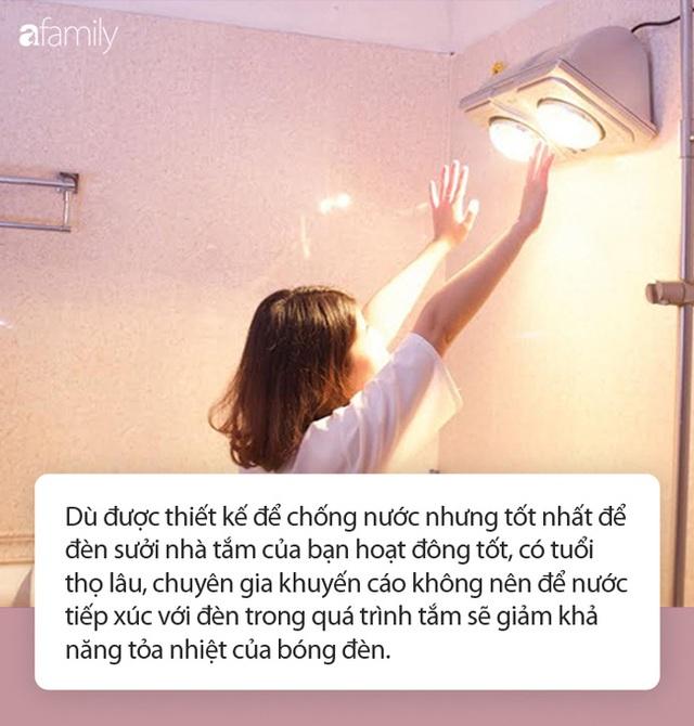 Dùng đèn sưởi nhà tắm vào ngày rét đậm: Chuyên gia khuyến cáo cần ghi nhớ 4 lưu ý sống còn - Ảnh 2.