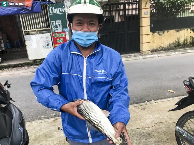 Nước sông Tô Lịch bỗng chuyển màu xanh ngắt hiếm thấy, người dân hân hoan bắt hàng tạ cá - Ảnh 10.