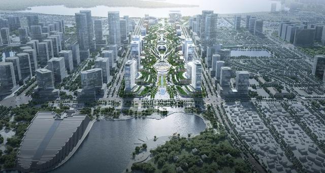 """Cận cảnh phương án kiến trúc """"Dải Ngân Hà Xanh Thăng Long"""" Khu trụ sở các Bộ ngành Trung ương Tây Hồ Tây - Ảnh 2."""