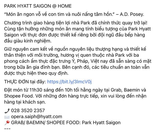 Ai rồi cũng bán đồ online: Khách sạn 5 sao nổi tiếng Park Hyatt Sài Gòn ra menu đồ ăn ship về, bất ngờ vì pizza chỉ từ 200k! - Ảnh 1.