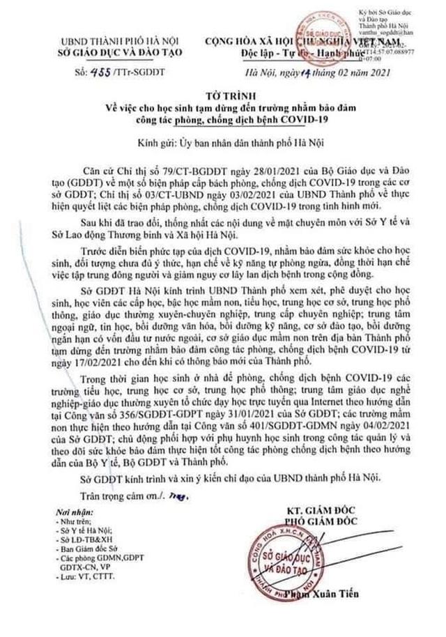 Nóng: Đề xuất cho học sinh Hà Nội tiếp tục nghỉ học sau Tết Nguyên đán - Ảnh 1.