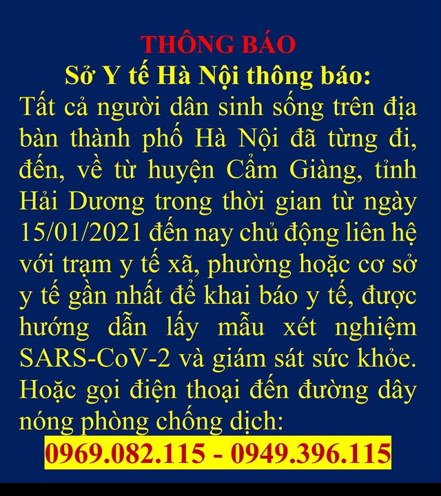 Hà Nội ra thông báo khẩn với người đi, đến, về từ Cẩm Giàng, Hải Dương - Ảnh 1.