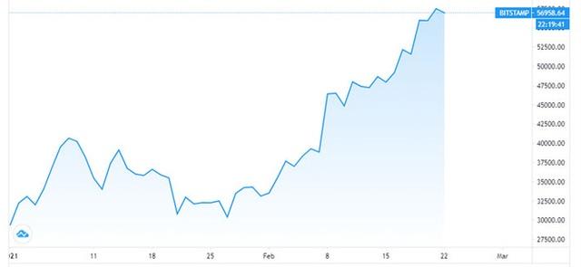 Bitcoin lên 60.000 USD, khoản đầu tư của Tesla lãi hơn 1 tỷ USD trong 1 tháng - Ảnh 1.
