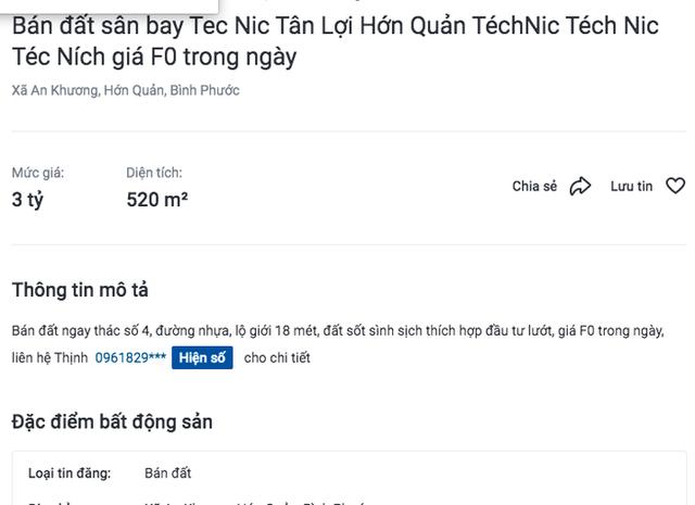 """Bình Phước: Sân bay Téc Ních chưa quy hoạch, """"cò"""" đã thổi giá đất dựng đứng - Ảnh 2."""