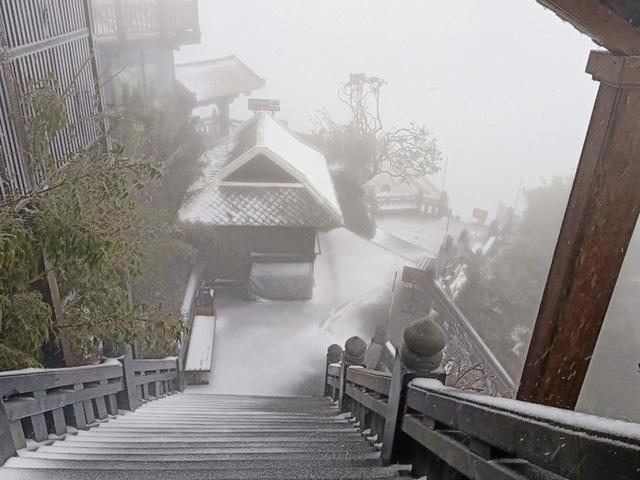 CLIP: Cảnh tuyệt đẹp trên đỉnh Fansipan khi mưa tuyết rơi dày  - Ảnh 6.