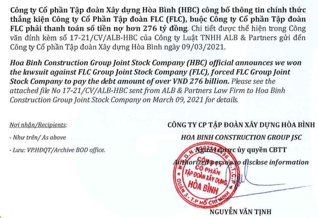 FLC thua kiện nhà thầu Hòa Bình, sẽ phải thanh toán số tiền hơn 276 tỷ đồng - Ảnh 1.