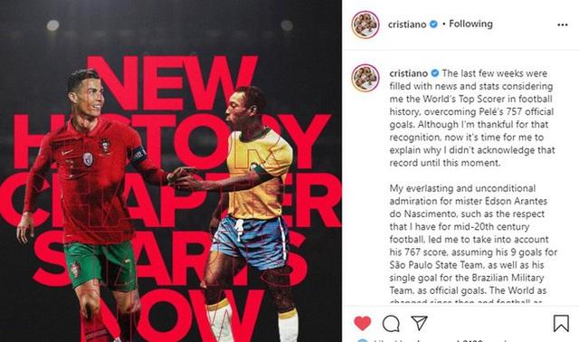 Lập hat-trick để phá kỷ lục thế giới của Pele, Ronaldo có dòng tâm sự dài trên mạng xã hội - Ảnh 2.