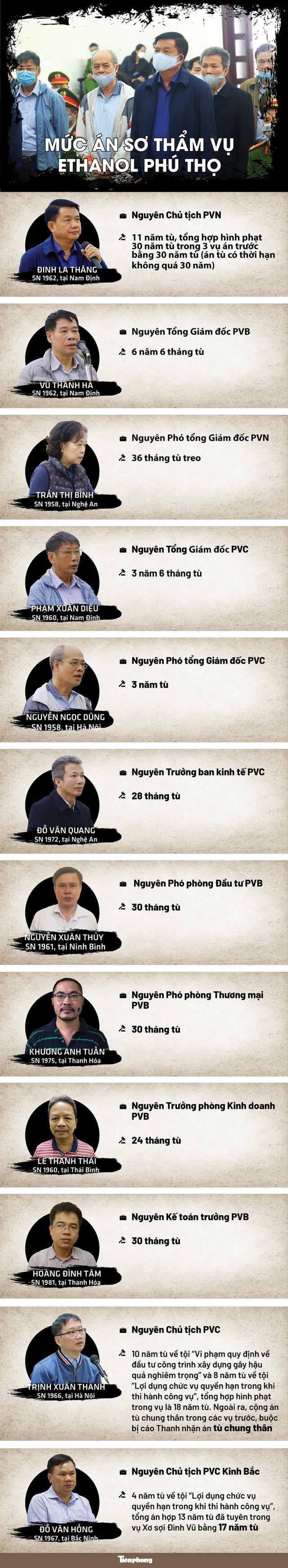 [INFOGRAPHIC] Án phạt của ông Đinh La Thăng, Trịnh Xuân Thanh trong vụ Ethanol Phú Thọ - Ảnh 1.