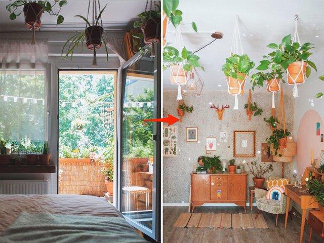 Biến căn hộ 32m2 trở thành không gian sống lý tưởng với nhiều cây xanh: Thay tông màu đen trắng thành nâu và vàng mù tạt  - Ảnh 8.